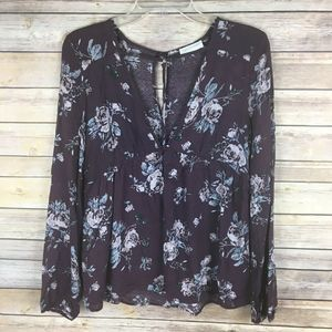 Full Tilt Blouse Small Purple Gray Floral